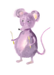 mousy, watercolor illustration on a white background