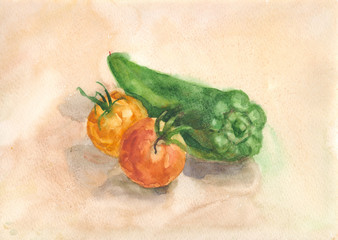 still life with tomatoes and peppers
