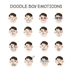 Vector cute doodle boy heads set. Boy emoticons collection. Emoji icons