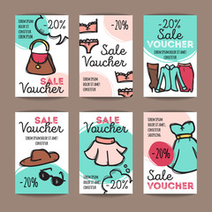 Vector set of discount coupons for woman clothes, underwear and accessories. Colorful doodle style discount voucher templates. Fashion store promo offer cards.