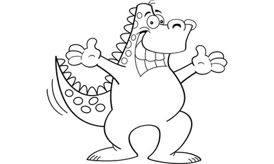 Black and white illustration of a dinosaur with both arms extended.