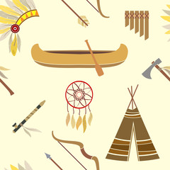 Seamless background with american indian icons for your design