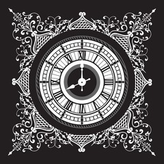 Vintage black and white clock