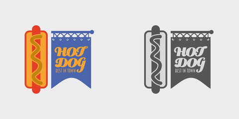 hot dog in a badge. Label or logo concept. Poster element. Monochrome and color