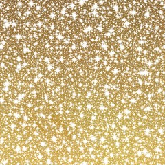Gold shining background with glittering stars or falling snow, festive luxurious pattern
