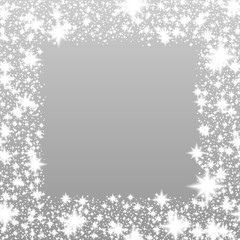 Shiny silver festive background with glittering stars or snowflakes on frame, winter or Christmas or any other celebration pattern