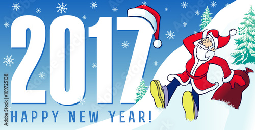Santa New Year Cards 2017. Happy New Year 2017 Greeting Card With Funny  Santa Claus