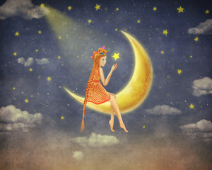 Illustration of a cute girl  sitting  on the moon  in night sky , illustration art