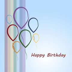 Happy birthday card with rainbow and balloons
