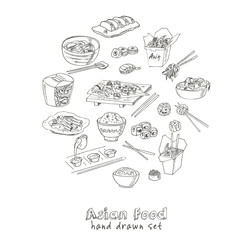Asian Food. Decorative chinese food icons set.