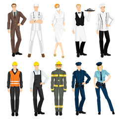 Set of professional people in uniform isolated on white background. Doctor, surgeon, police officer, worker, mechanic, waiter, chef, firefighter, teacher