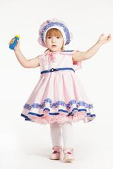 Girl in dress like sailor