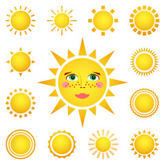 set of different suns isolated on white background