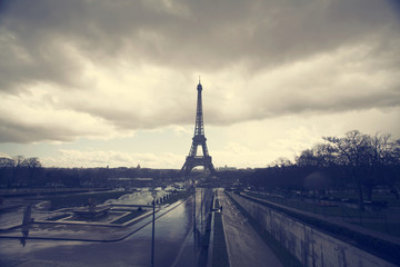 Photo of Eiffel Tower with dramatic sky, Paris, France