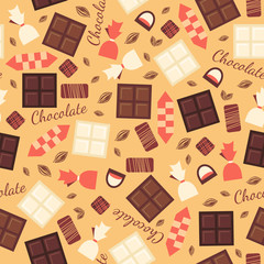 Seamless pattern with chocolate sweets isolated on beige background.