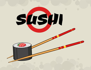 Sushi Roll With Chopsticks. Illustration With Text And Background