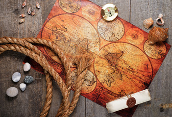 Travel items on wooden table. Summer time sea vacation background. top view. copy space