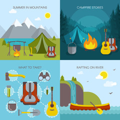 Camping Square Icons Set