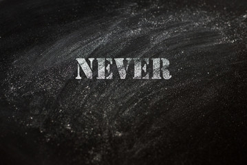 black chalk board with text never