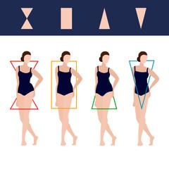Vector Female Body Types Illustration.