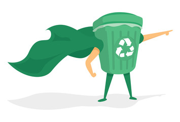 Green recycle bin super hero with cape