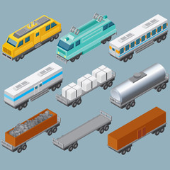Isometric Railroad Train. Vector Image