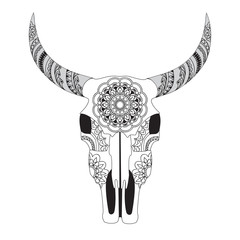 Decorated Cow Skull with mandala