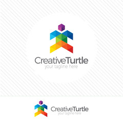 Abstract  turtle Logo design vector template, colorful turtle il