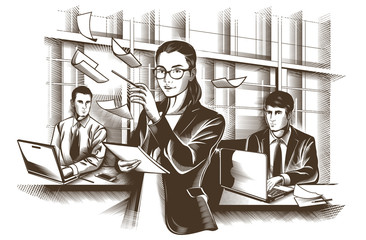 Business partners discussing documents and ideas at meeting. Engraved Vector