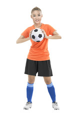 Woman holding soccer ball