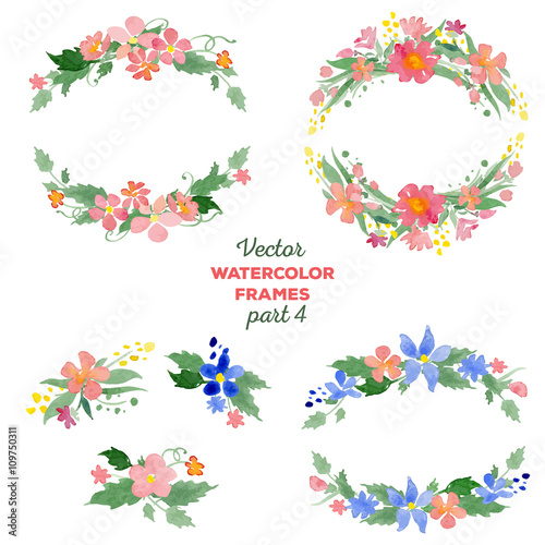 """Floral watercolor wreaths, frames, bouquets"" Stock image"