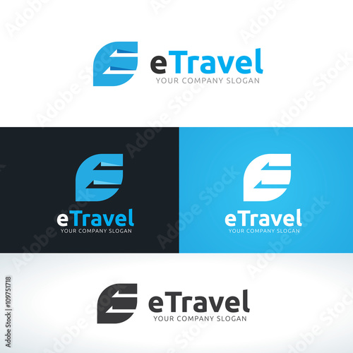 travel logo design with capital letter e vector illustration