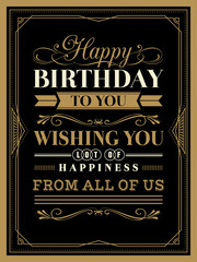 Vintage Happy Birthday card border and frame template