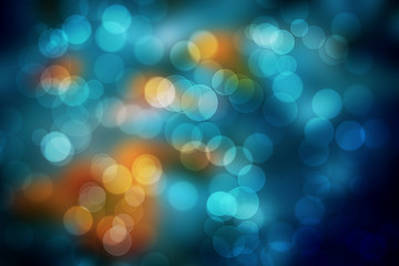 Dark Blue and orange Bokeh Abstract Background