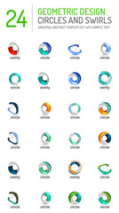 Geometric abstract circles and swirls icon set
