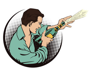 People in retro style. Man with champagne.