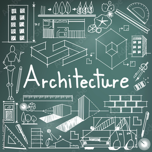 Architecture and architect design profession and building exterior architecture and architect design profession and building exterior blueprint handwriting doodle tool sign and symbol in malvernweather Gallery