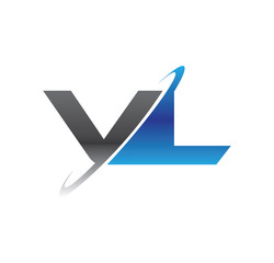 vl initial logo with double swoosh blue and grey