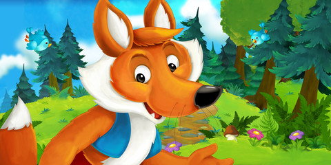 Cartoon scene of a happy fox standing and watching - illustration for children