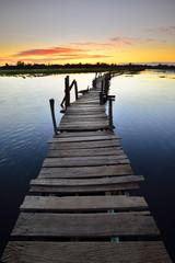 Architecture Bridge with morning sun. Kae Dam District, Maha Sarakham, Thailand.