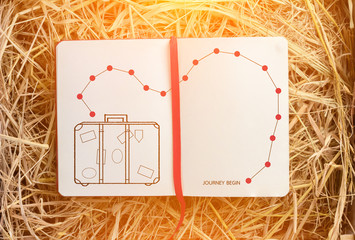 drawing of luggage on blank notebook