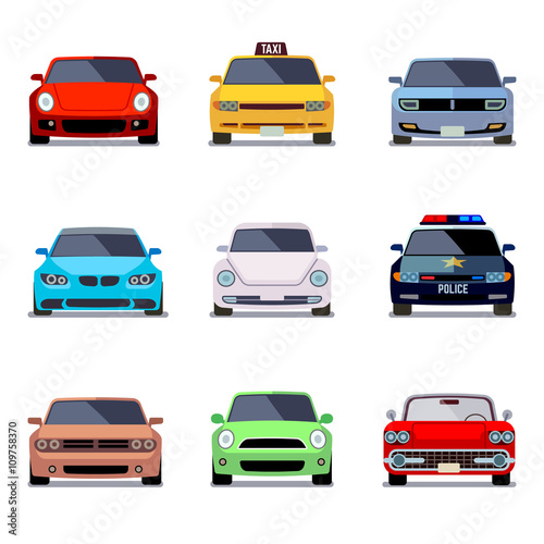 Car Flat Vector Icons In Front View Car Transport Auto Car