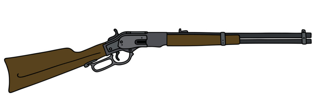 Old american rifle / Hand drawing, vector illustration