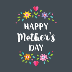 Cute floral typographic card on charcoal background for Mother's Day in bright colors, with Spring flowers and typographic message Happy Mother's Day. For cards, tags, social media banners.
