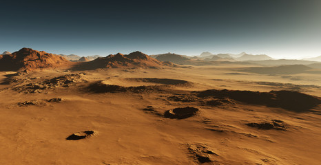Dust on Mars. Sunset on Mars. Martian landscape with craters