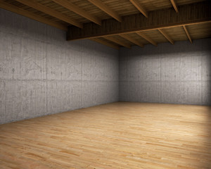 Wall Mural - Large empty room with concrete walls. 3d illustration