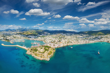 Aerial view from drone of Bodrum, Turkey