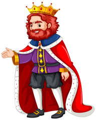 King in purple costume and red robe