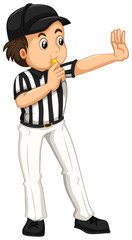Umpire in striped uniform blowing whistle