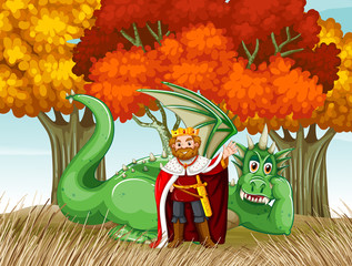 King and dragon in the field